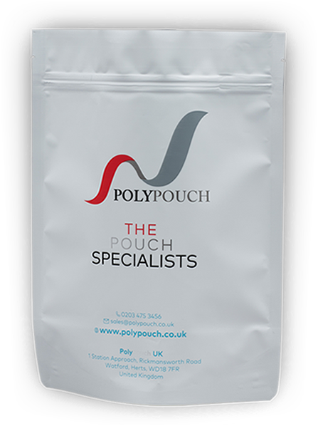 Bespoke stand up pouch supplied by Polypouch UK